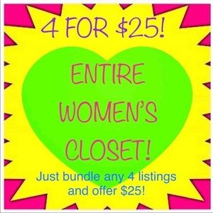 LAST DAY TO SAVE! Women's & kids closet 4 for $25